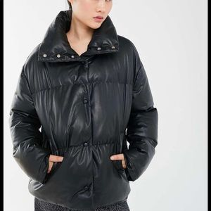 NWT UO Faux Leather Puffer Jacket